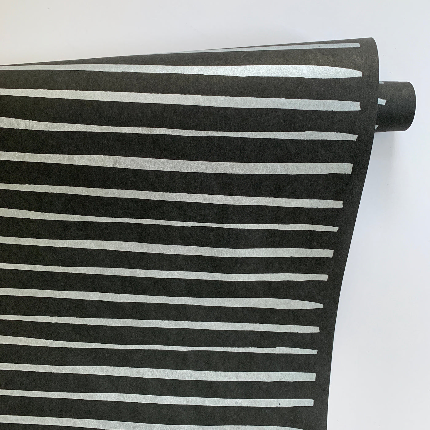 Striped Paper - Silver on Black