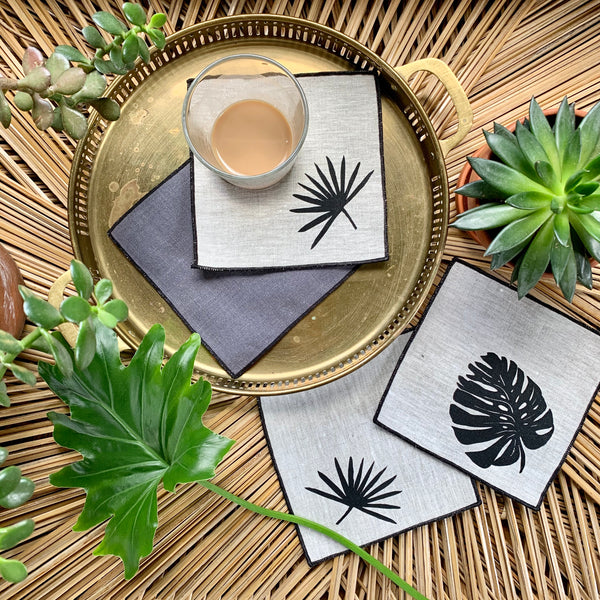 Tropical Cocktail Napkins in Black