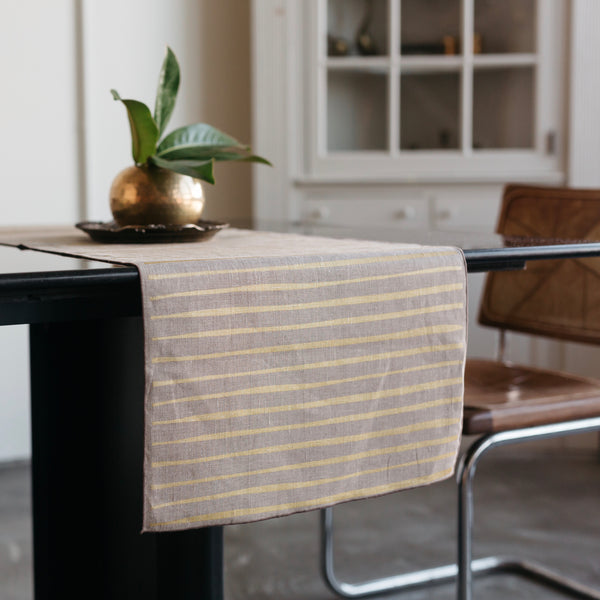 Striped Table Runner in Gold