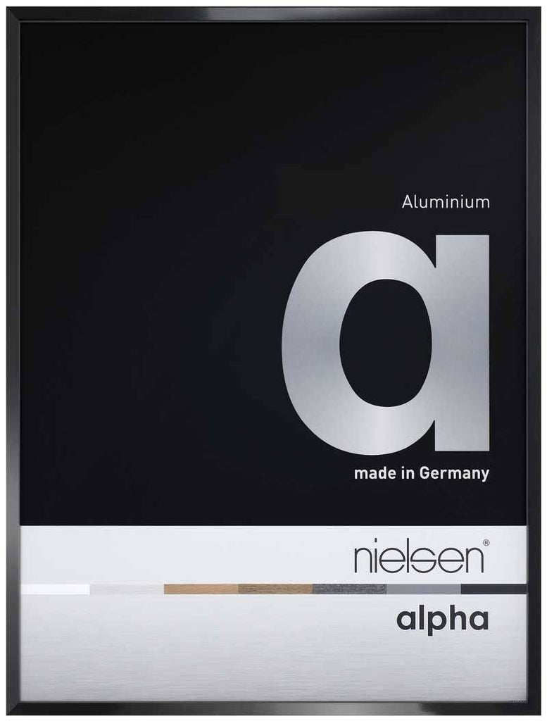 Nielsen Alpha Polished Black 18 x 24 cm Aluminium Frame - Trade Frames