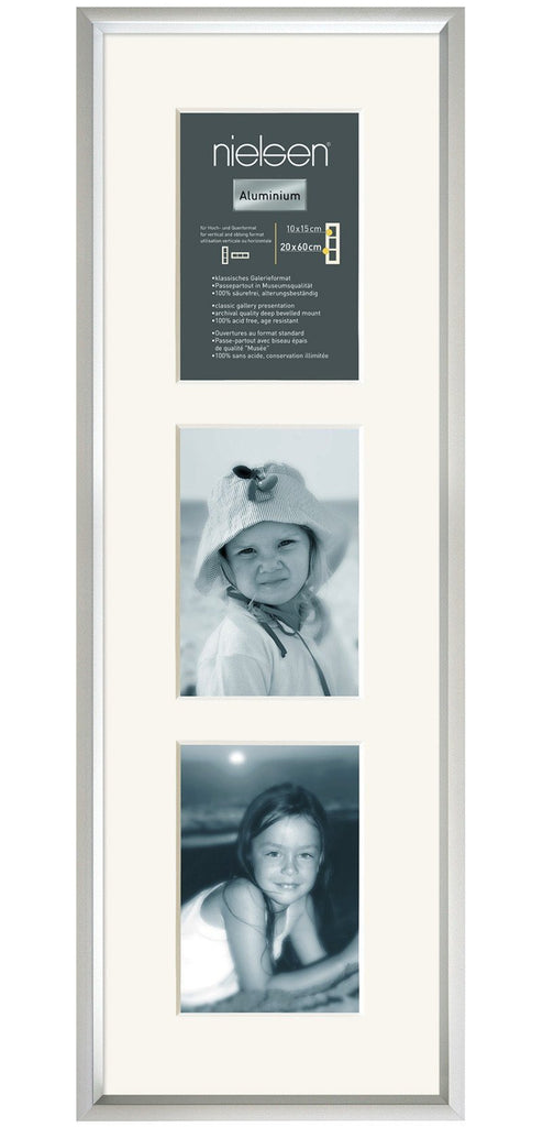 Gallery Junior Silver 20 x 60 cm Multi 3-Aperture 10 x 15 cm Portrait - Trade Frames