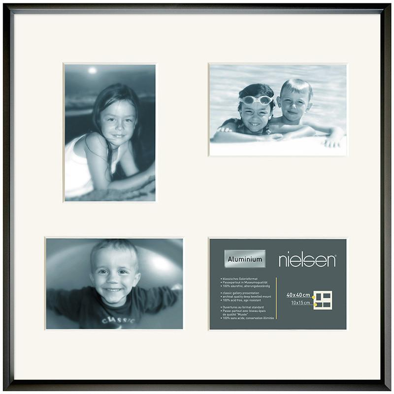 Gallery Junior Black SQUARE 40 x 40 cm Multi 4-Aperture 10 x 15 cm - Trade Frames