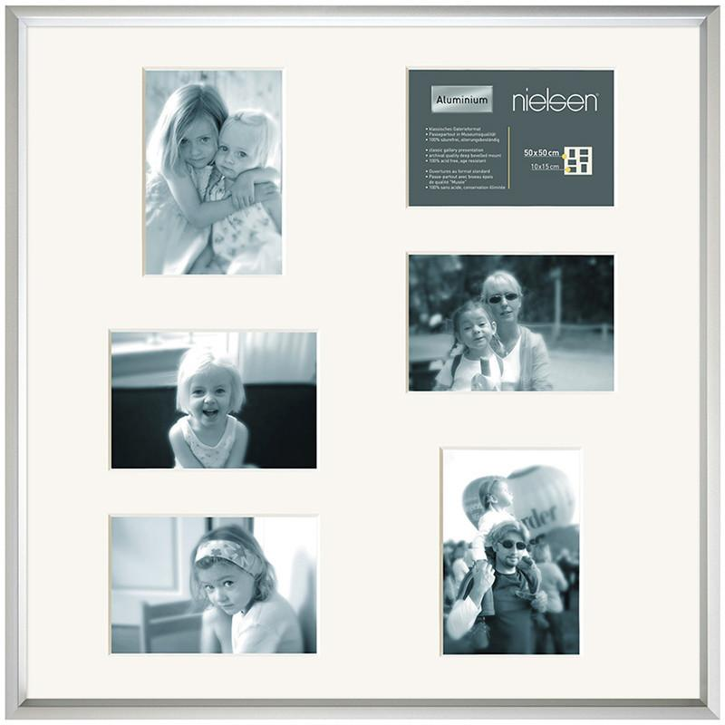 Gallery Junior Silver SQUARE 50 x 50 cm Multi 6-Aperture 10 x 15 cm - Trade Frames