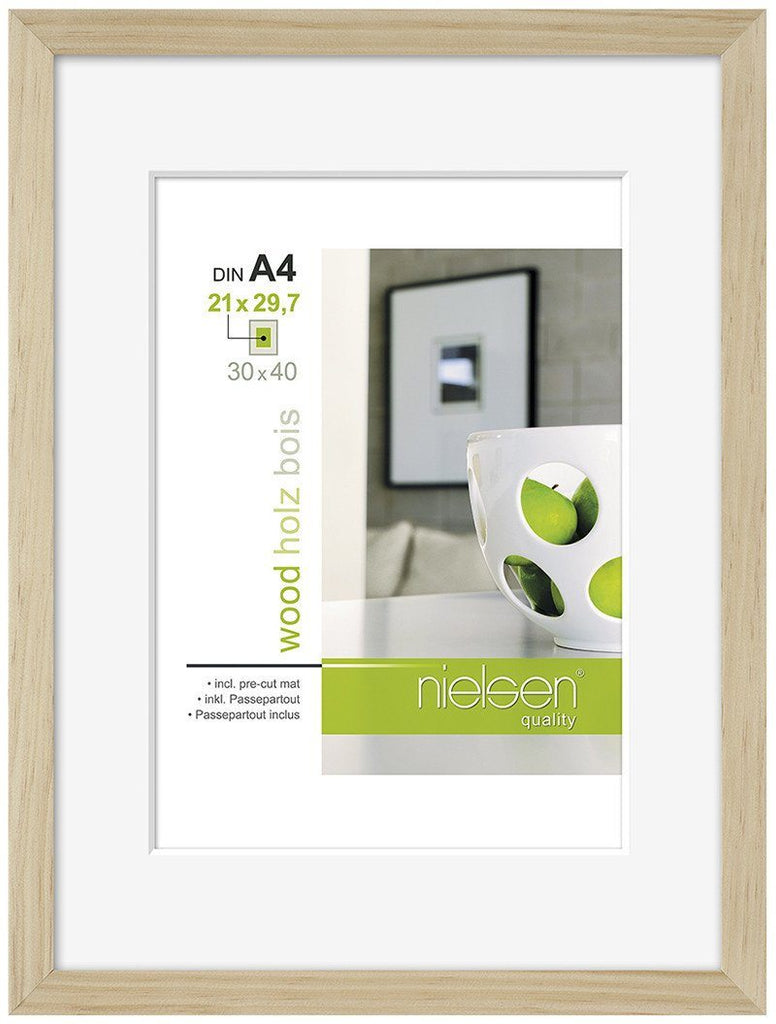 "Nielsen Apollo Natural Wood Frame 24 x 30 cm (7"" x 9"" mount) - Trade Frames"