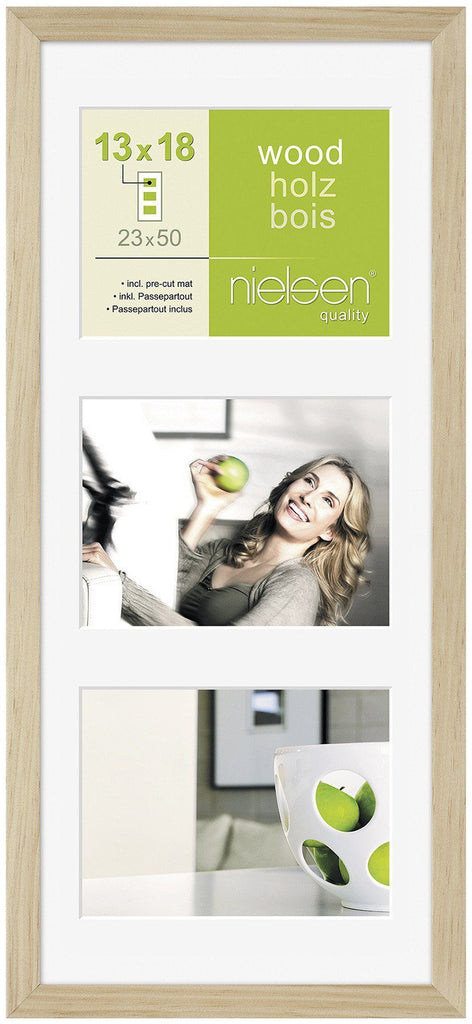 "Nielsen Apollo Natural Wood Frame 23 x 50 cm MULTI (3 aperture 5"" x 7"" mount) - Trade Frames"