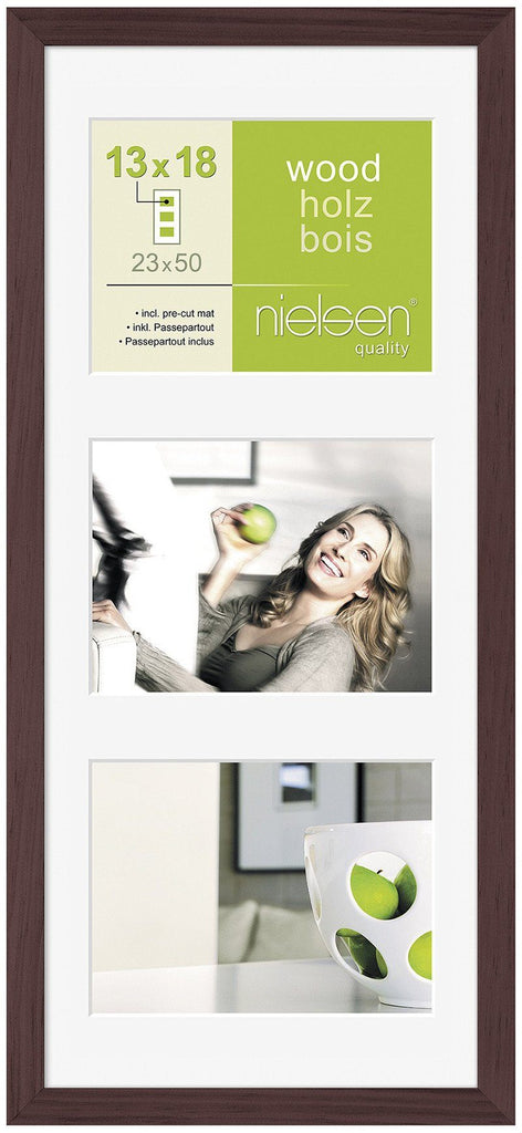 "Nielsen Apollo Wenge Wood Frame 23 x 50 cm MULTI (3 aperture 5"" x 7"" mount) - Trade Frames"