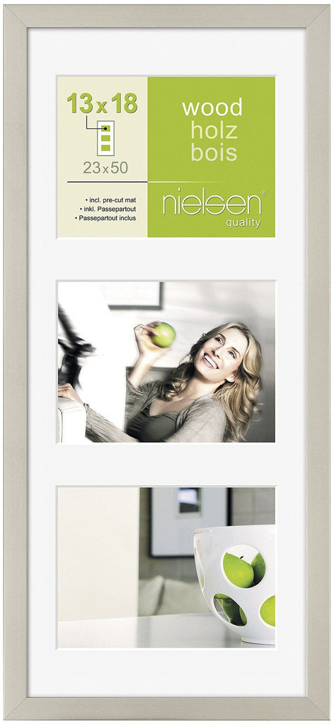 "Nielsen Apollo Dark Silver Wood Frame 23 x 50 cm MULTI (3 aperture 5"" x 7"" mount) - Trade Frames"