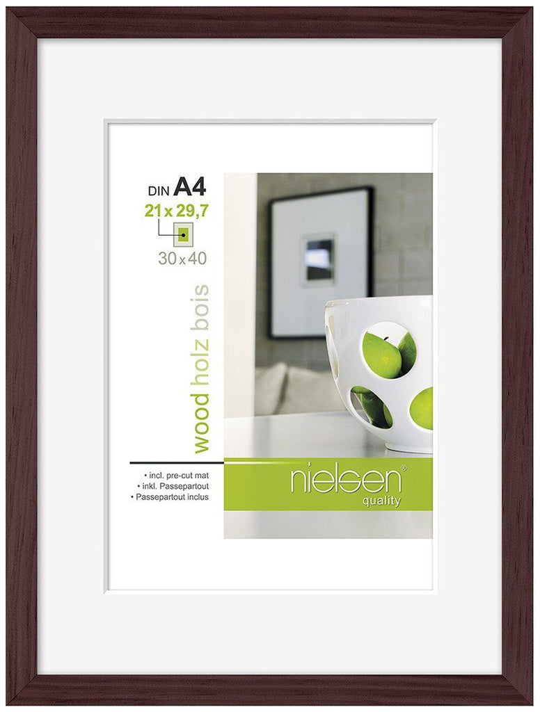 Nielsen Apollo Wenge Wood Frame 30 x 40 cm (A4/ 21 x 29.7 cm mount) - Trade Frames