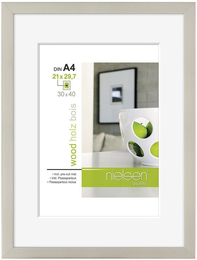 Nielsen Apollo Dark Silver Wood Frame 30 x 40 cm (A4/ 21 x 29.7 cm mount) - Trade Frames