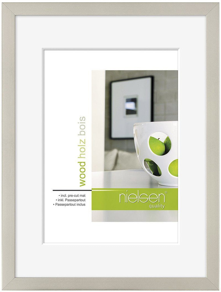 Nielsen Apollo Dark Silver Wood Frame 50 x 70 cm (40 x 50 cm mount) - Trade Frames