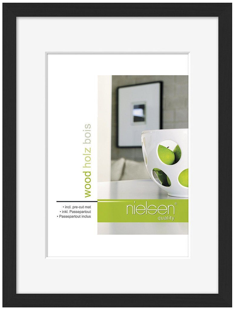 Nielsen Apollo Black Wood Frame 45 x 60 cm (30 x 45 cm mount) - Trade Frames
