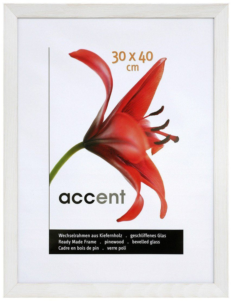 Nielsen Accent Magic 30 x 40 cm Wooden Grained White Frame - Snap Frames