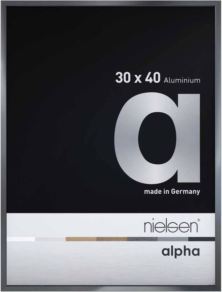 Nielsen Alpha Polished Dark Grey 30 x 40 cm Aluminium Frame - Snap Frames