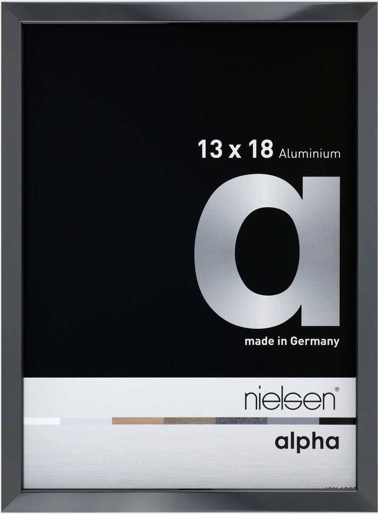 Nielsen Alpha Polished Dark Grey 13 x 18 cm Aluminium Frame - Snap Frames