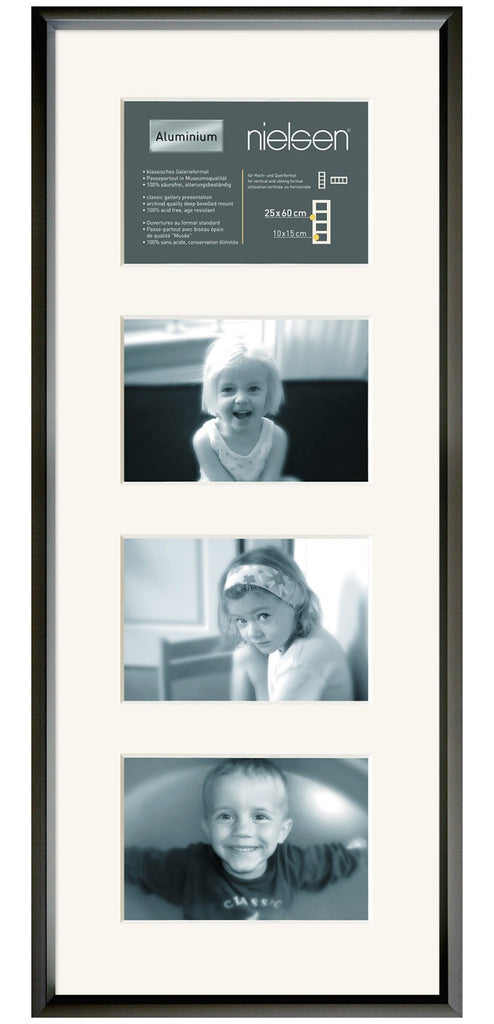 Gallery Junior Black 25 x 60 cm Multi 4-Aperture 15 x 10 cm Landscape - Snap Frames