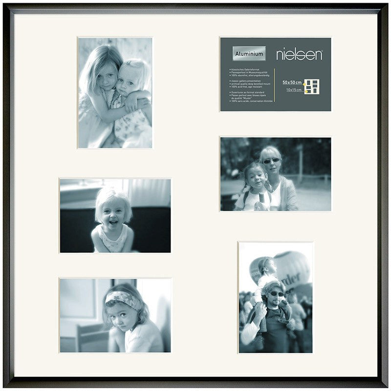 Gallery Junior Black SQUARE 50 x 50 cm Multi 6-Aperture 10 x 15 cm - Snap Frames