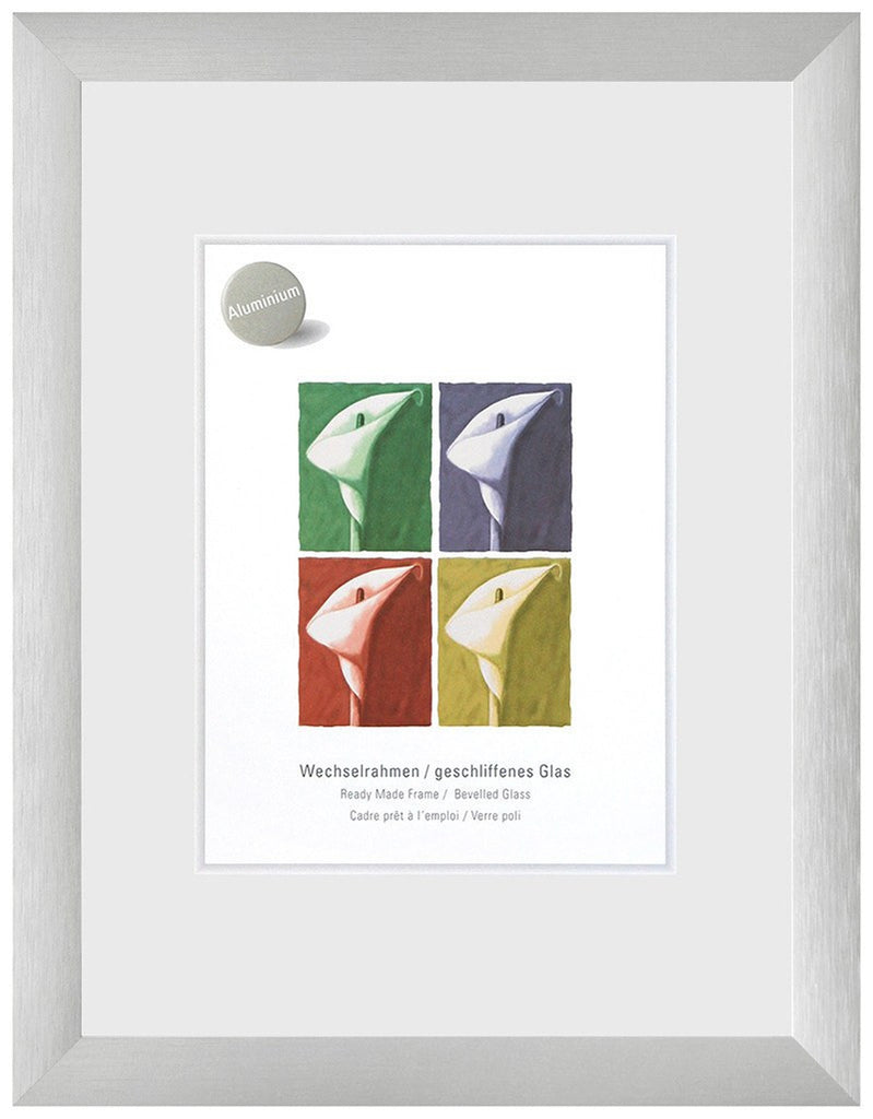Largo Brushed Silver A4 Plastic Glass (210 x 297 mm) - Snap Frames