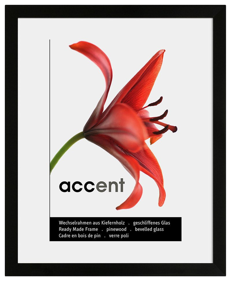 Nielsen Accent Wood Black A4/ 21 x 29.7 cm Glass - Snap Frames