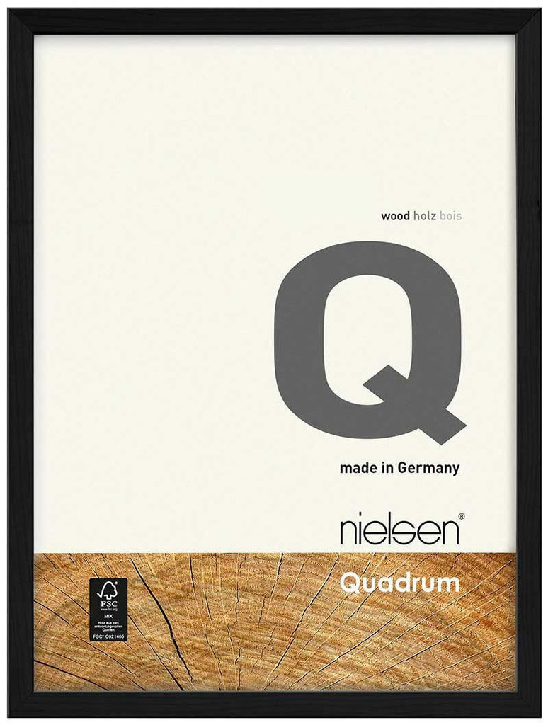 Nielsen Quadrum 30 x 40 cm Black Wood - Natural Glass