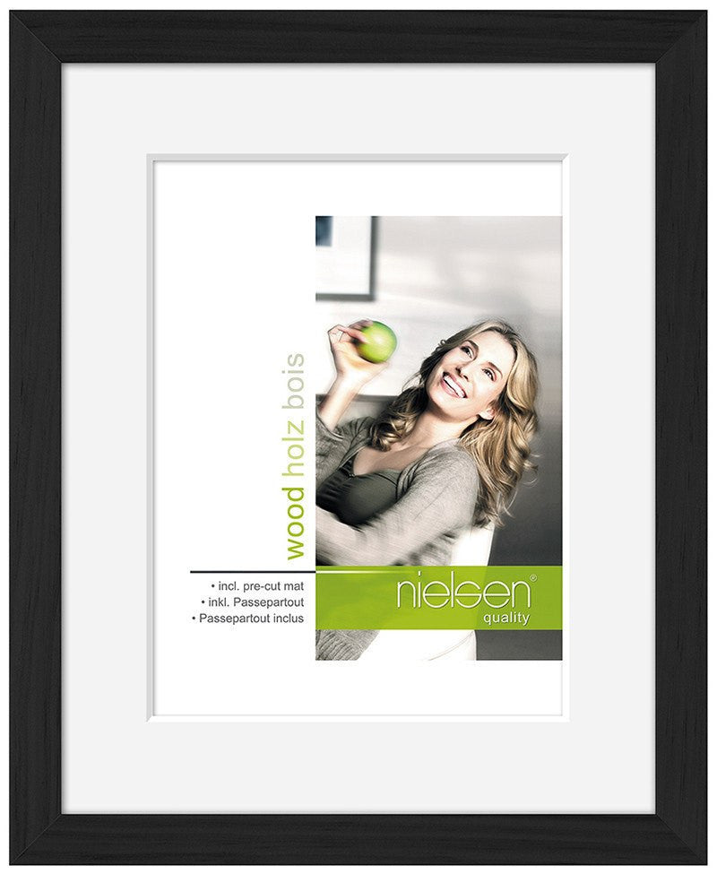 "Nielsen Apollo Black Wood Frame 13 x 18 cm (4 x 6"" mount) - Snap Frames"