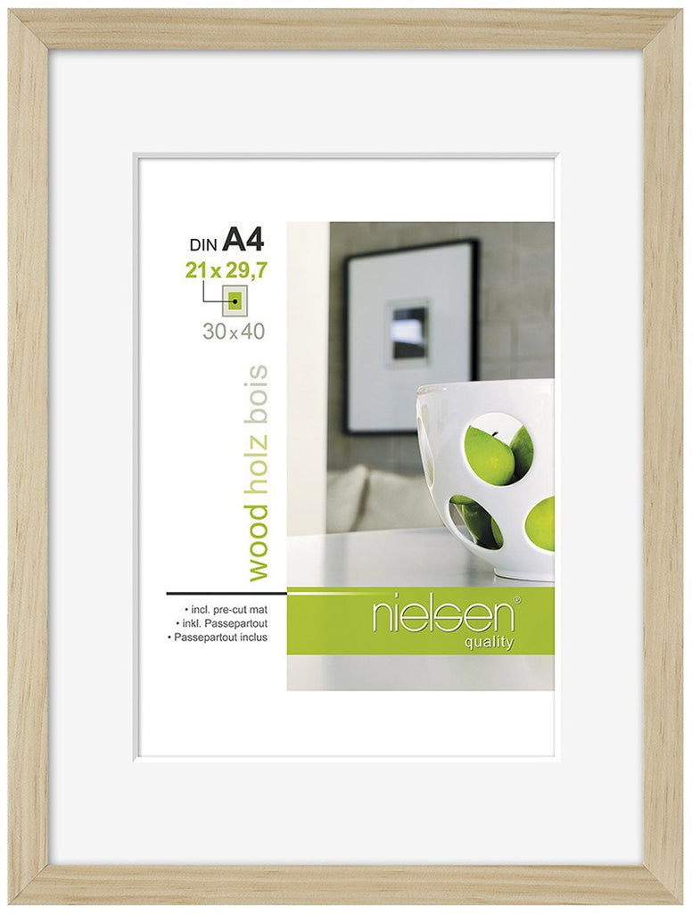 "Nielsen Apollo Natural Wood Frame 24 x 30 cm (7"" x 9"" mount) - Snap Frames"