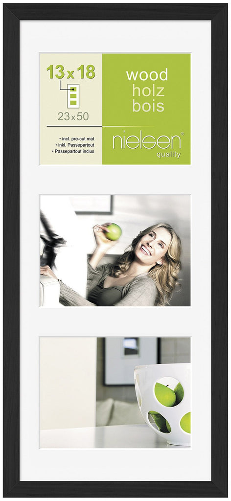 "Nielsen Apollo Black Wood Frame 23 x 50 cm MULTI (3 aperture 5"" x 7"" mount) - Snap Frames"