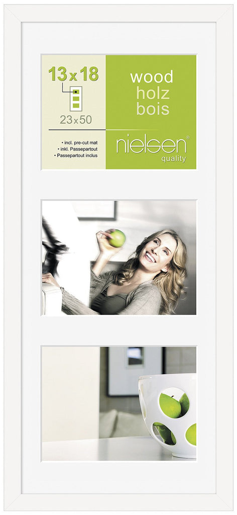 "Nielsen Apollo White Wood Frame 23 x 50 cm MULTI (3 aperture 5"" x 7"" mount) - Snap Frames"