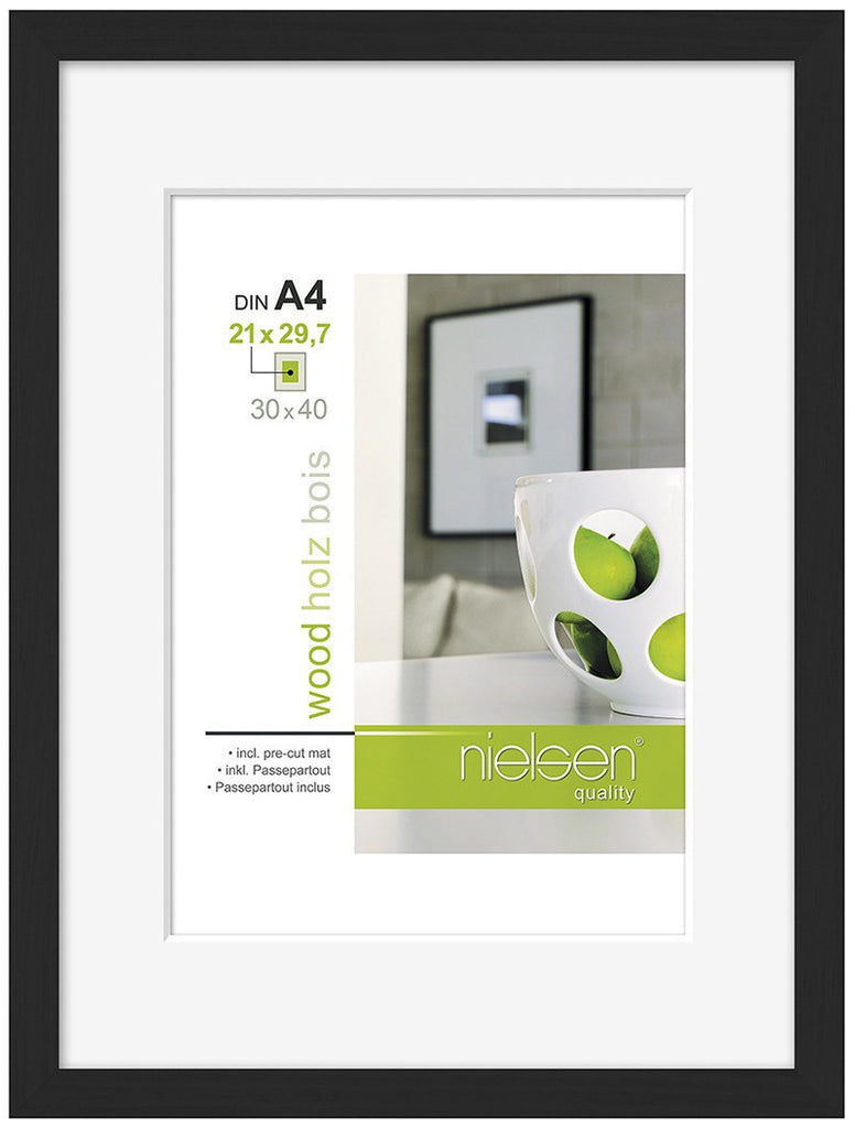 Nielsen Apollo Black Wood Frame 30 x 40 cm (A4/ 21 x 29.7 cm mount) - Snap Frames