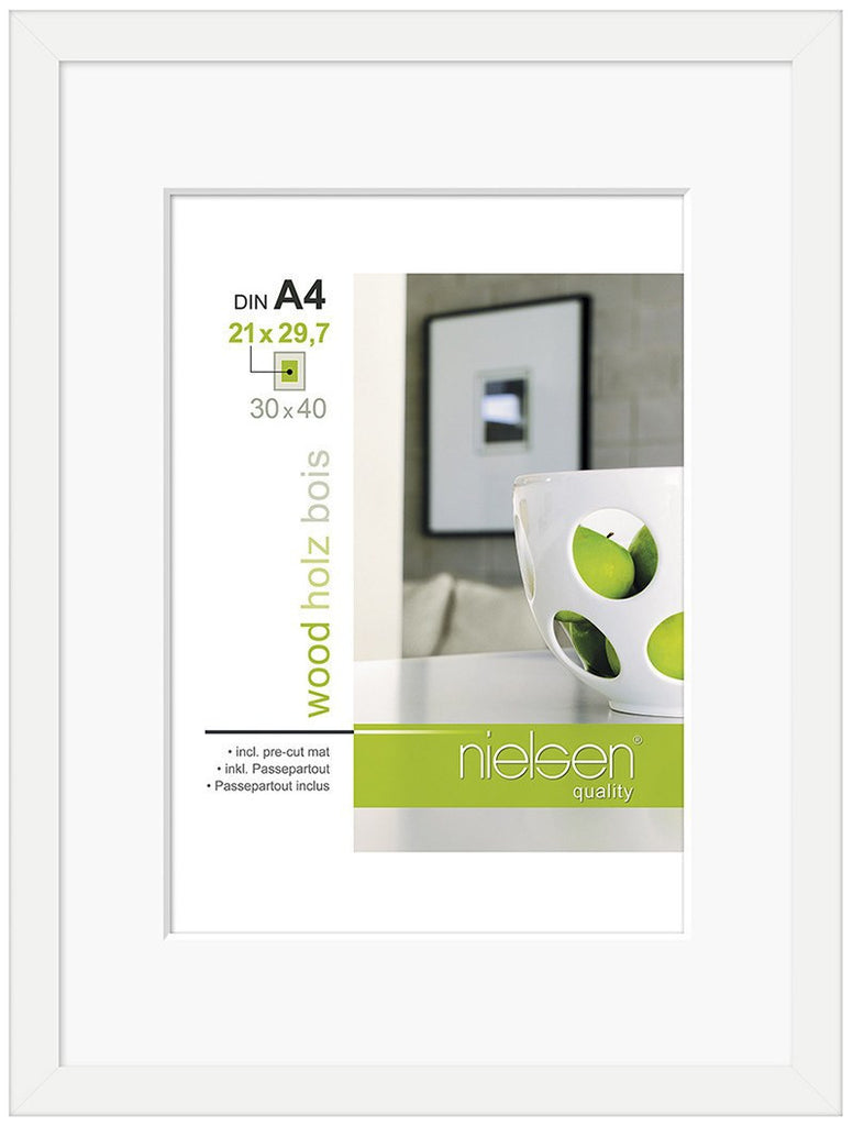 Nielsen Apollo White Wood Frame 30 x 40 cm (A4/ 21 x 29.7 cm mount) - Snap Frames