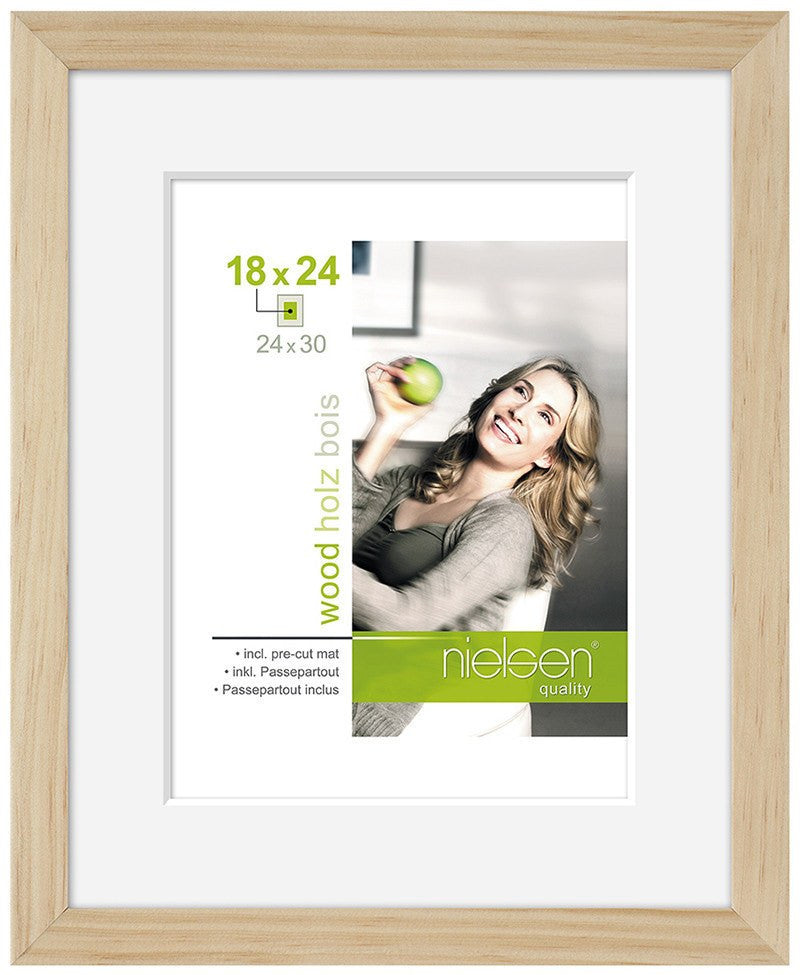 "Nielsen Apollo Natural Wood Frame 18 x 24 cm (5 x 7"" mount) - Snap Frames"