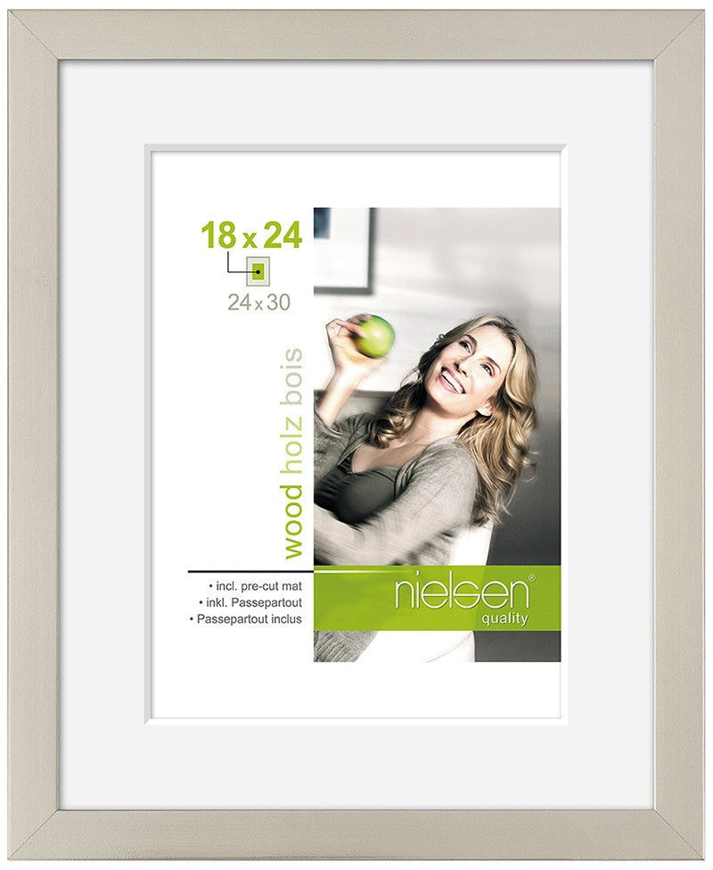 "Nielsen Apollo Dark Silver Wood Frame 18 x 24 cm (5 x 7"" mount) - Snap Frames"