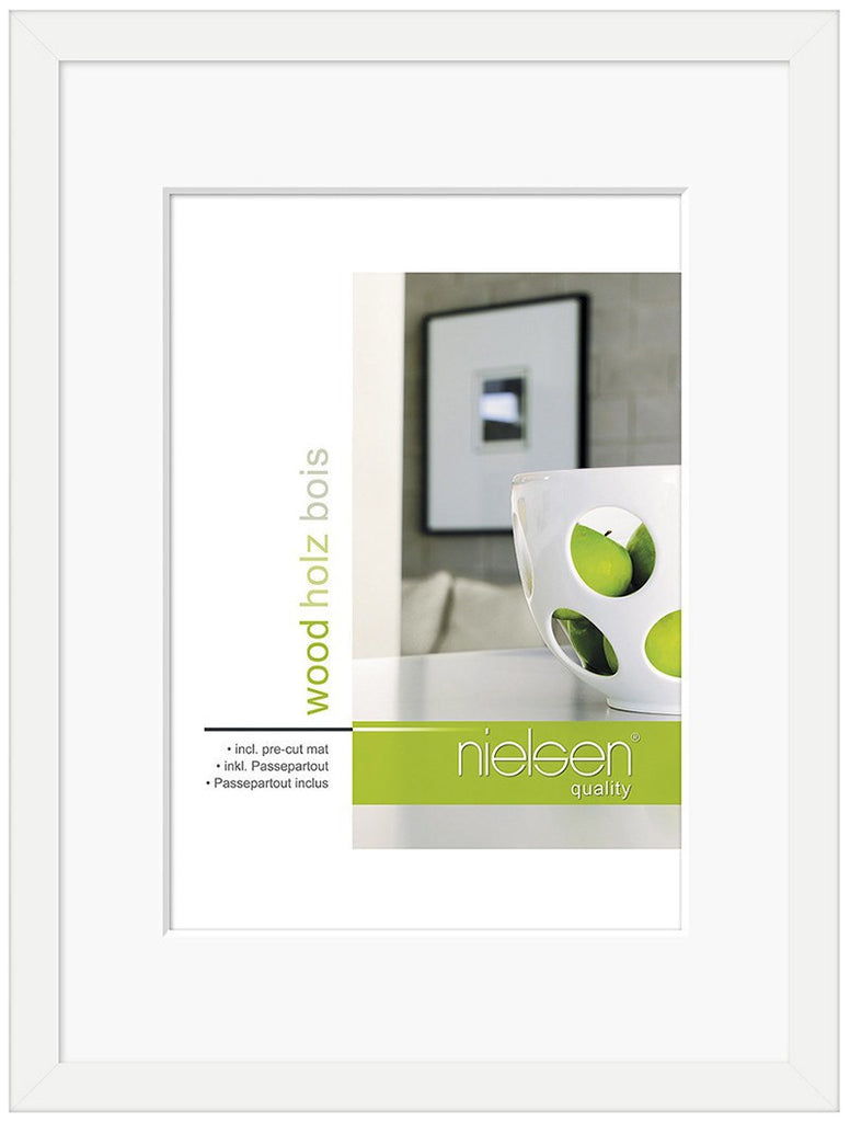 "Nielsen Apollo White Wood Frame A4/ 21 x 29.7 cm (6"" x 8"" mount) - Snap Frames"