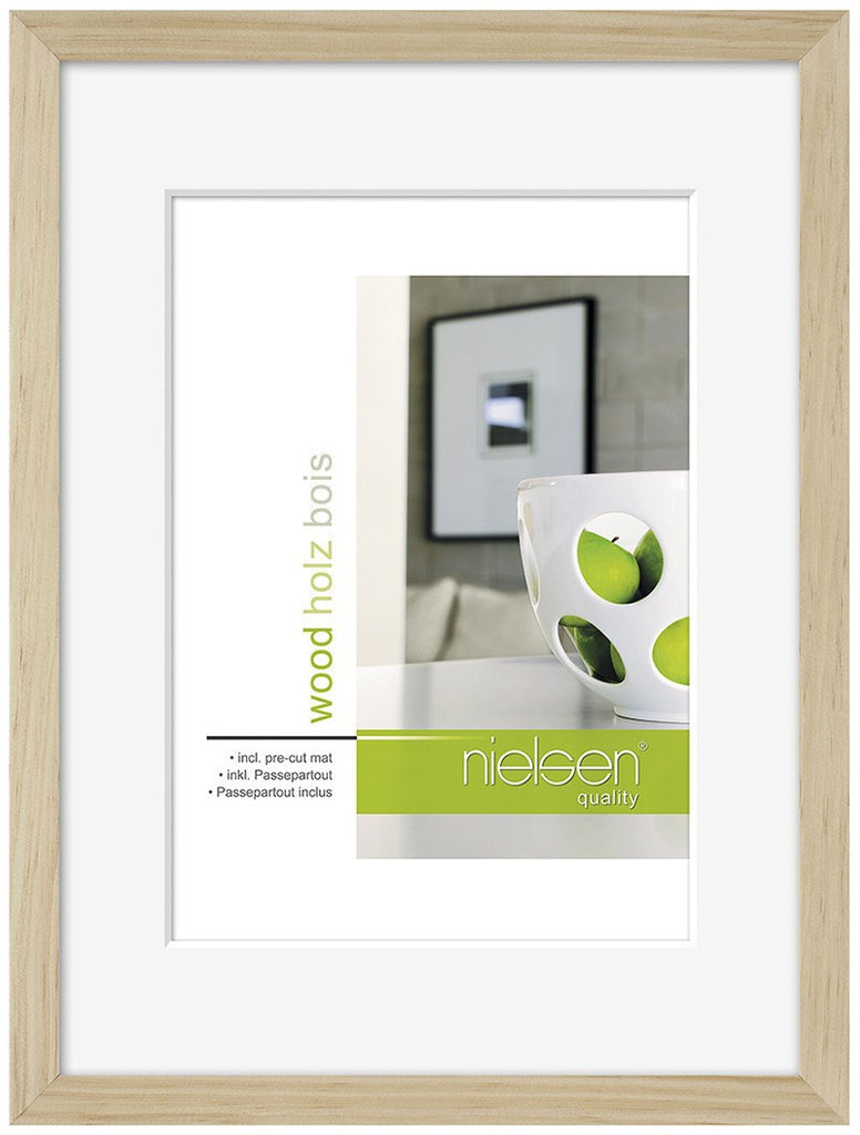 "Nielsen Apollo Natural Wood Frame A4/ 21 x 29.7 cm (6"" x 8"" mount) - Snap Frames"