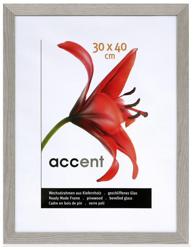 Nielsen Accent Magic 30 x 40 cm Wooden Grained Grey Frame - Snap Frames