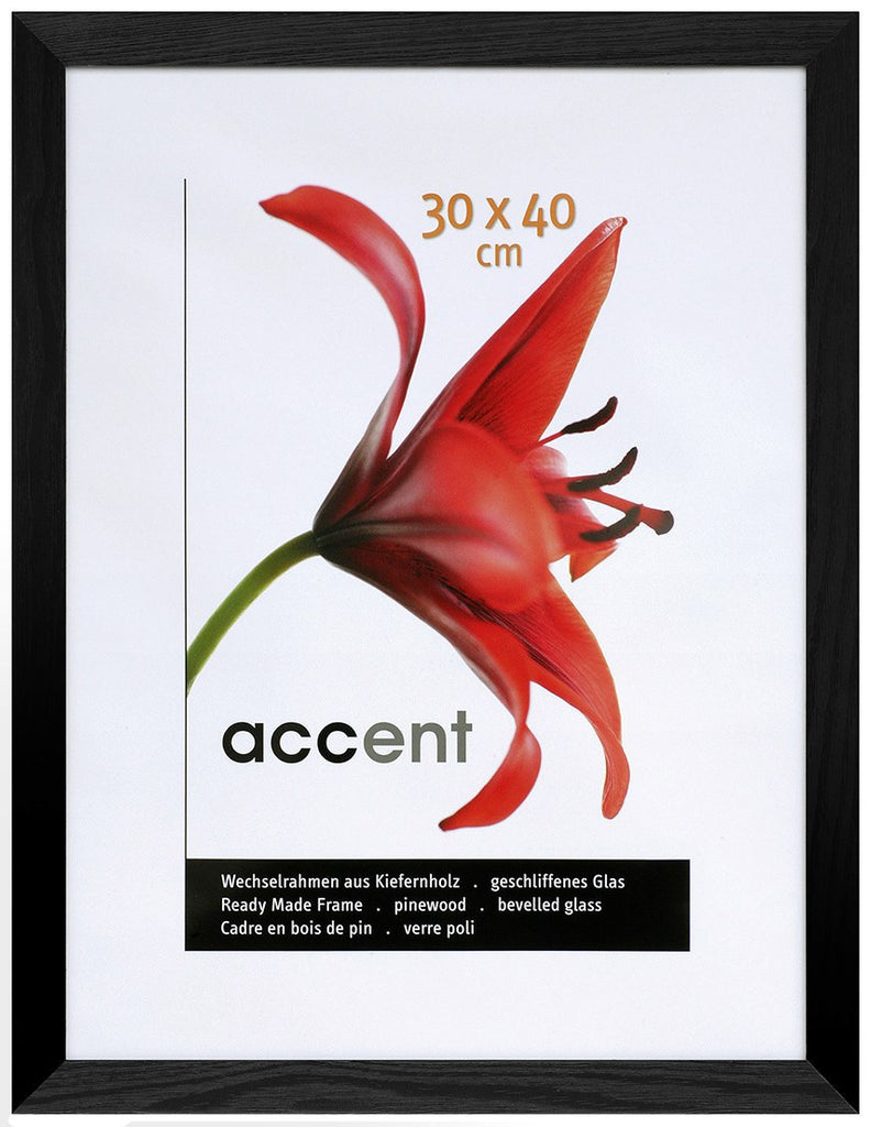Nielsen Accent Magic 30 x 40 cm Wooden Grained Black Frame - Snap Frames