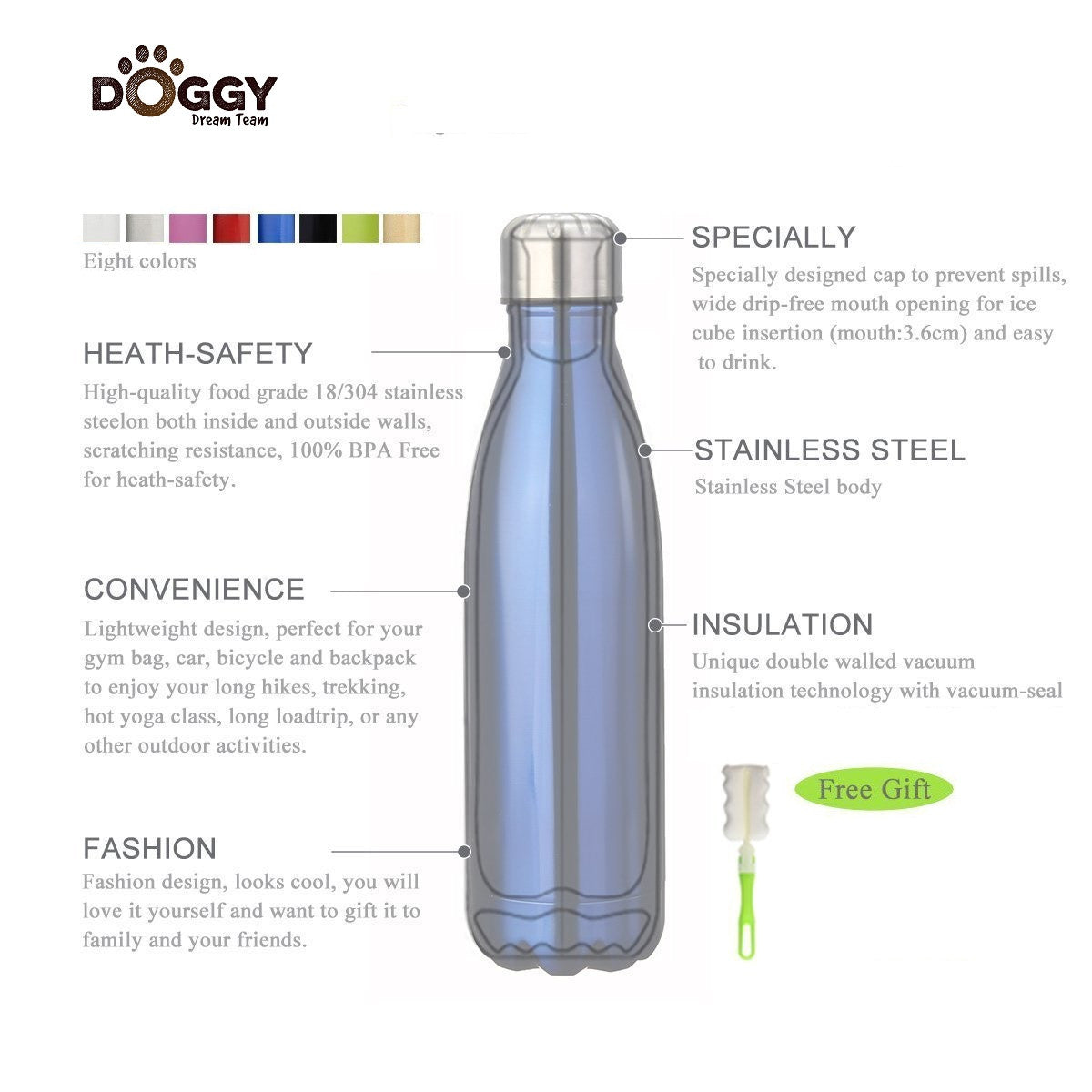 b4f0adf277 Insulated Stainless Steel Water Bottle (500ml) ~ The Doggy Dream ...