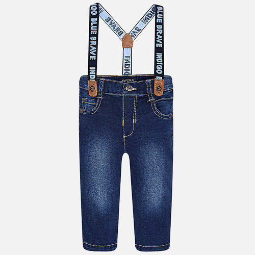 Mayoral Baby Boy Long Denim Trousers With Suspenders
