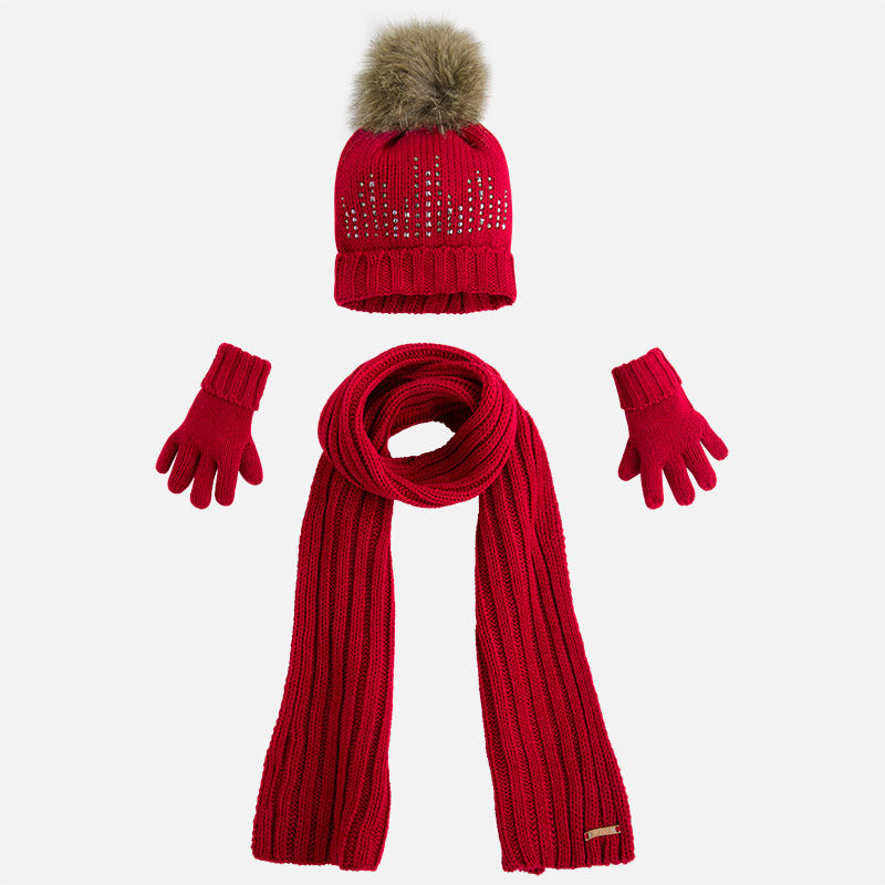 Mayoral Hat Scarf And Gloves Set Maroon