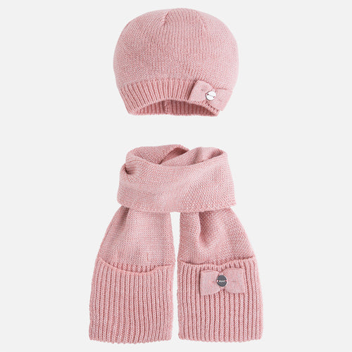Mayoral pink girl set of scarf and beanie