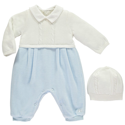Emile Et Rose Blue Traditional Baby Boys All in One with Hat