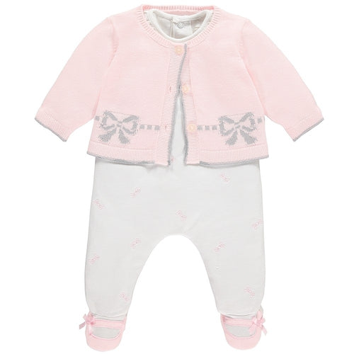 MICHELLE GIRLS BOW BABYGROW & CARDIGAN SET