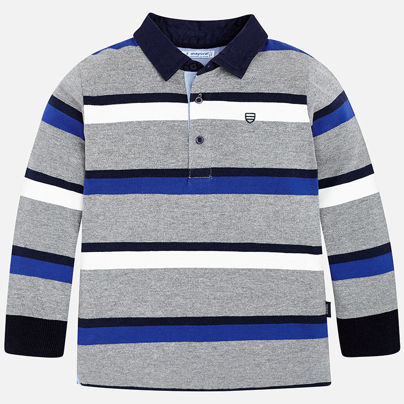 Mayoral Striped Long Sleeve Polo In Stock
