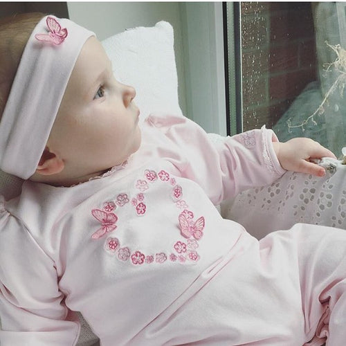 Emile Et Rose Baby Girl Butterfly & Flower Heart Babygrow