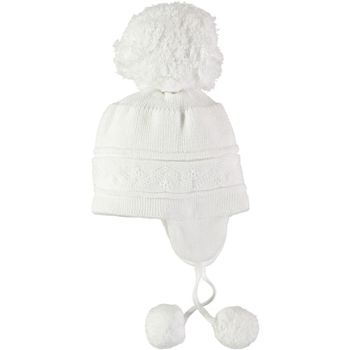 Emile Et Rose White Baby Bobble Hat with Ear Flaps