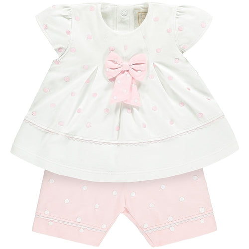 MIRANDA BABY GIRLS PINK SPOT BOW OUTFIT