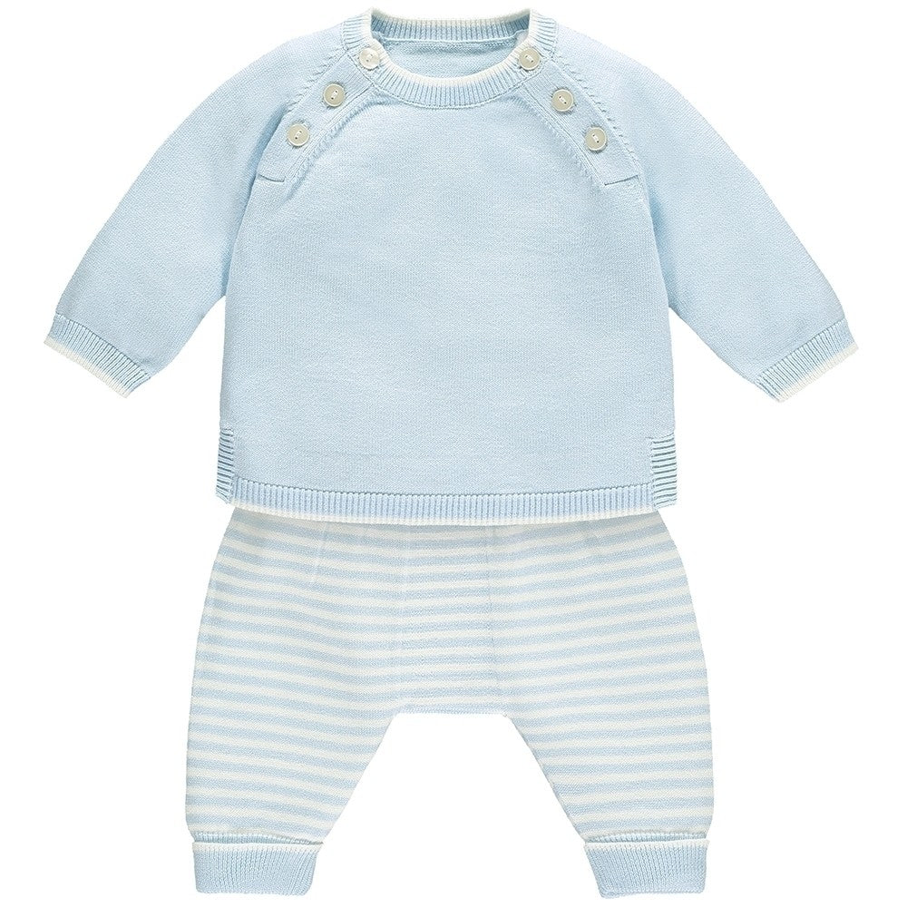 Marvin Baby Boys Blue Striped Knit Outfit