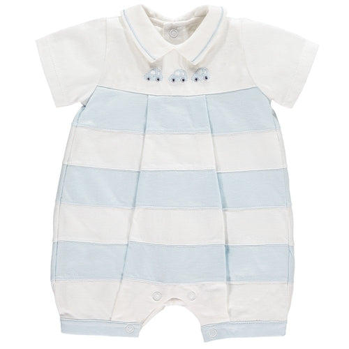 MONTY BOYS BLUE STRIPED CAR ROMPER