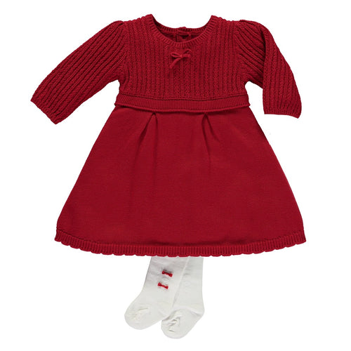 Emile Et Rose Red Cable Knit Baby Baby Girls Dress With Tights