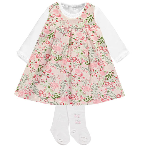 Emile Et Rose Floral Girls Pinafore Dress with Body & Tights