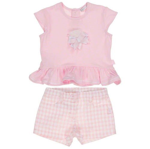 Tutto Piccolo Girls Pale Pink Gingham Shorts Set
